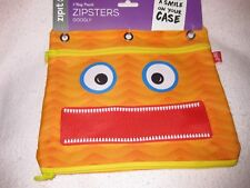 ZIPIT 3 RING POUCH ZIPSTERS ORANGE WITH OPEN TEETH MOUTH