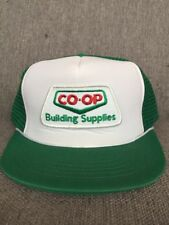 Vtg Co-op Building Supplies Snap Back Hat 1980's Home Construction Canada Green