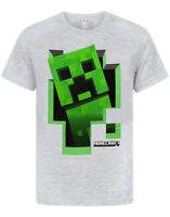 Minecraft T Shirt Green Creeper Boy's / Kids Grey Short Sleeve Mojang Top