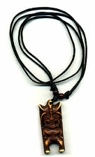Tiki Necklace adjustable cord pendant Hawaiian moai retro rockabilly surf