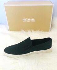 Michael Kors Keaton Slip On LeatheR WOVEN WEBBING Sneakers Black women shoes