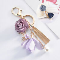 Pendant Flower Key Jewelry Crystal Charm Keychain Bow Tassel Chain Bag Rose Ring
