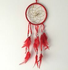 NEW RED RIBBON FEATHER DREAM CATCHER NATIVE AMERICAN HANGING MOBILE