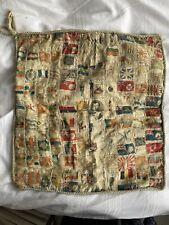 More details for vintage silk 'cigarette card' cushion.