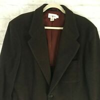 Vintage J Crew Women Brown Wool Blend Blazer Jacket L Two Button Classic Lined