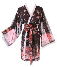 KJ-09-3 Schwarz Goldfisch Fächer Sakura Haori Über-Jacke Geisha Kimono Yukata