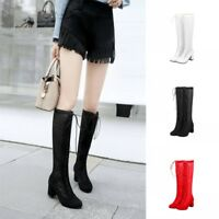 Women's Hollow Out Knee High Boots Round Toe Casual Lace Up Chunky Heel Shoes
