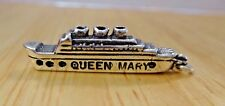 Sterling Silver 3D 27x7mm Cruise Ship says Queen Mary Charm
