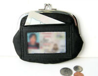 Black Ladies Genuine Leather Clasp Coin Purse Card ID Change Holder New