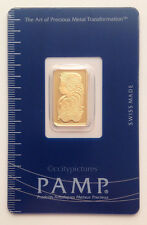 5 gram Pamp Suisse Lady Fortuna .9999 Fine Gold Bar In Assay