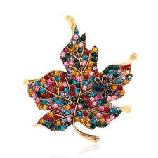 Colorful Maple Leaf Piercing Brooch Pin Collar Decor Badge Corsage Women JewALQA