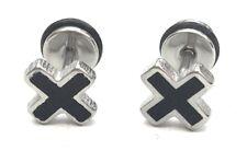 Pair Stainless Steel Cross Earrings Screw Studs Gift Mens Womens Black Silver