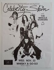 CELEBRITY SKIN/MIRACLE WORKERS/L-7 Original Concert Flyer 1989 Glam Garage PunK