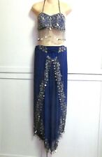 Vintage 2 Pc Professional Belly Dance Costume Blue Beaded Coins Wrap Harem Pant