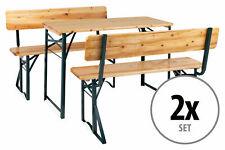 2x Set Birreria Tavolo e Panche con Schienale da Giardino Balcone in Legno 119cm