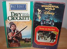 Two Disney VHS  Davy Crockett Wild Frontier Three on the Run & Race for Survival
