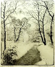 "Charles Dahlgreen ""Winter in the Woods""  9.5"" x 7.5"" Etching; Signed"