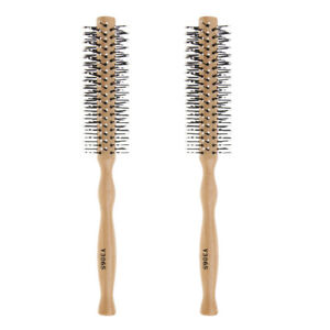 2x Nylon Barber Hair Styling Round Volumizing Brush Rolled Comb w/ Wooden Handle