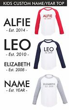 Childs Kids Personalised Custom Name and Est. Year Long Sleeve Tshirt Baseball