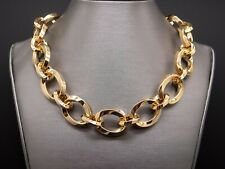 Tiffany & Co 18k Yellow Gold 20mm Wide Oval Link Chain Necklace 16 inch Box