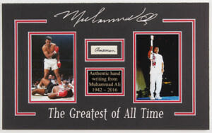 Muhammad Ali 11 x18.25 Custom Matted Cut Display with (1) Hand Written Word JSA