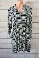 Dotti Shirt Dress Fit Flare Size 10 Black White Stripe Long Sleeve