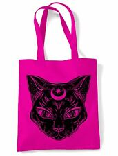Black Witches Cat with Moon Symbol Large Print Tote Shoulder Shopping Bag