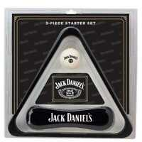 Jack Daniels 3 Piece Billiards Starter Set w/ Triangle, Cue Ball, and Brush