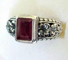 Genuine Ruby & Silver Flower Ring, 925 Sterling Silver, sz 7.25 -- 2.41cts, 7.4g
