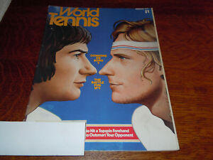 """VINTAGE FEBRUARY 1977 """" WORLD TENNIS """" MAGAZINE - CONNORS OR BORG COVER"""