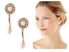 E508 Betsey Johnson Bridal Bridesmaid Wedding Rhinestone Drop Pearl Earrings UK