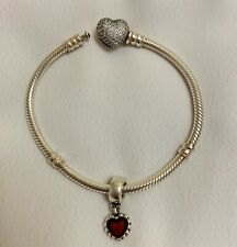 Pandora Moments Sparkling Heart Pave Clasp With ❤️Charm 17cm