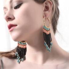 Boucles d'Oreilles Creole Anneau Tassel Pompon Mini Perle Long Multicolore  AA24