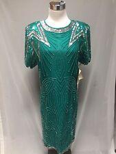 NWT VTG Silk Jewel Queen Beaded Sequins Evening Formal Dress M 10 Jade Green