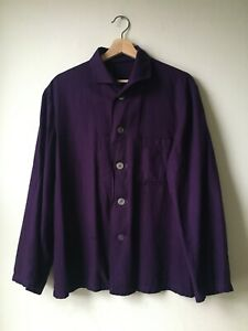True vintage workwear chore shirt jacket. Overdyed purple. Unisex. Small medium.
