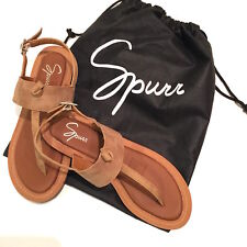 Women's NEW SPURR tan SANDALS Size US 7 EUR 38 T-Bar strap flat heel sandal