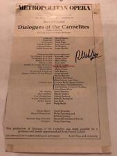 "Regine Crespin Signed 1979 Program Page Metropolitan Opera ""Dialogue Carmelite"""