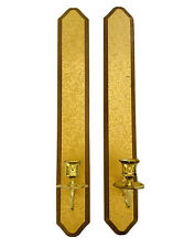 "Gold Hollywood Regency Wood Candle Wall Sconces, 20"" Tall"