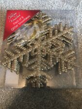 8 Pack Gold Glitter Snowflake Decorations , Christmas, Party, 14.5cm