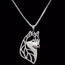 Halskette mit Anhänger. Schmuck Hund - Ein Kopf von Siberian Husky. Silber