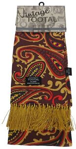 Tootal Mens Brown and Gold Paisley Silk Scarf Burgundy