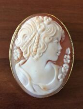 Gold Washed Sterling Silver Cameo Pendant Pin