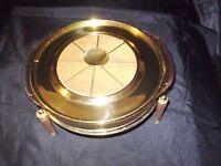ART DECO PYREX 3 QT CASSEROLE DISH VINTAGE GOLD FLEXS  LID WARMER CANDLE SERVER