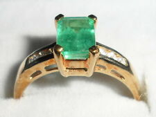 9K GENUINE EMERALD Y GOLD RING ZAMBIA EMERALD & DIAMOND 0.755CT LOVELY COLOUR