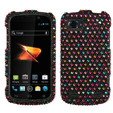 For ZTE Warp Sequent Crystal Diamond BLING Hard Case Phone Cover Rainbow Dots