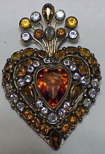 Hobe vermeil sterling wire work bezel set open back heart brooch