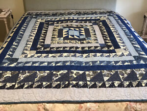 Handmade Patchwork Quilt, Large, In Shades Of Blue