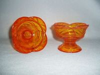 Viking Art Glass Epic Leaf Candlesticks Persimmon #7610