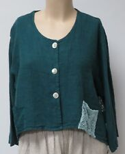 SARAH SANTOS, TEAL LINEN, SIZE XXL LITTLE EMBELLISHED JACKET,MADE IN ITALY