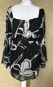 Evans Black White & Silver Tie Back Blouse Top Sequinned Band UK 26